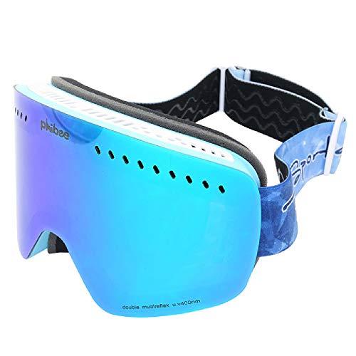 TTPF Occhiali da Sci per Bambini, Casco Compatibile Parabrezza Possono Essere posizionati in Bicchieri miopia Lenti a Doppio Strato Anti-UV antiriflesso per Gli Sport Invernali