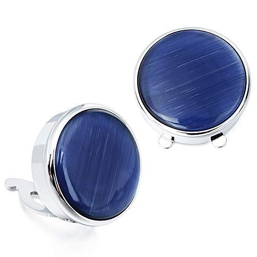 XKSWZD Gemelli 1 Paio di Eleganti Bottoni in Pietra Naturale Blu Occhio di Gatto Copri Bottoni per Camicia da Uomo Pulsanti di Alta qualità per Abbigliamento