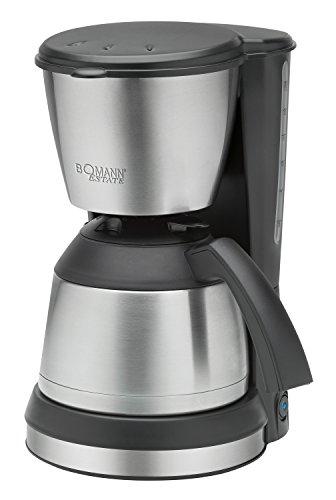 Bomann KA 1370 CB Cafetera de Goteo con Jarra Termo, Capacidad 8-10 Tazas 1 litro, Negra Plata, 800W, 800 W, 1.2 litros, De plástico, Acero Inoxidable