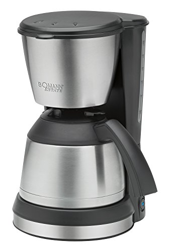 Bomann KA 1370 CB Cafetera de Goteo con Jarra Termo, Capacidad 8-10 Tazas 1 litro, Negra Plata, 800W, 800 W, 1.2 litros, De plastico, Acero Inoxidable