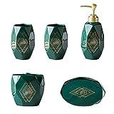 Dispensador de jabón Dispensador de jabón de cerámica en forma de diamante a mano de 5 piezas para casa de baño de 5 piezas botella / taza de enjuague bucal / cápsulo de cepillo de dientes / plato de