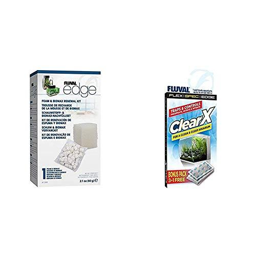 Fluval Edge Schaumstoff und Biomax Nachfüllset & A1336 Clear X Filter Kissen 4er Pack