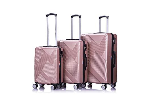LYS - Set de 3 Valises Rigide ABS Trolley 4 Roues doublées 55-65-75 cm Ultra léger Bagage à...