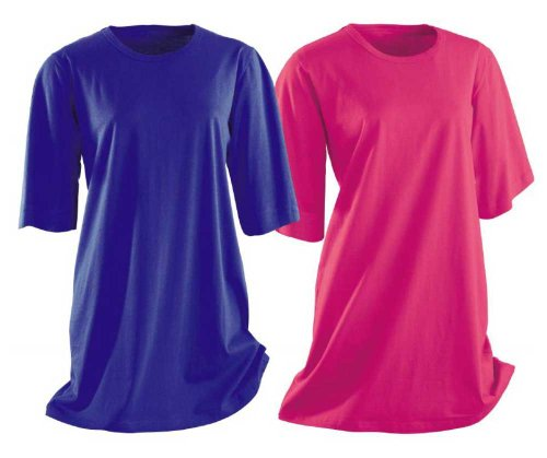 AdoniaMode Damen Nacht-Hemd Doppelpack Nachtkleid Sleepshirt Nachtwäsche Rundhals Kurzarm Knie-lang Bigshirt Blau/Pink 3/4 Arm Gr.36/38