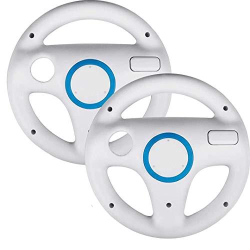 shentaotao 2er-Pack gepinkelt up Lenkrad Spiel Lenkrad, Anzug für Mario Kart Racing Wheel fit für Nintendo Wii (weiß)