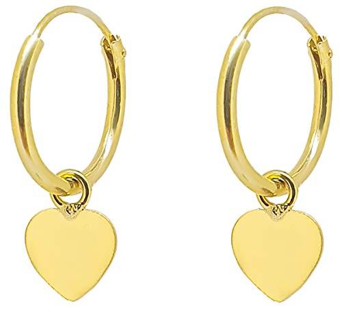 ENTREPLATA Pendientes Aro con Colgante de Plata de Ley 925 Chapado Oro 24 K. Corazón