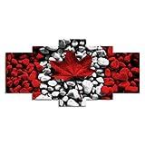 jiangying store Decoración del hogar Pintura Sofá Fondo Moda Bandera de Canadá Hoja de Arce Roja Piedra Arte de la Pared Sala de Estar Decoración para el hogar