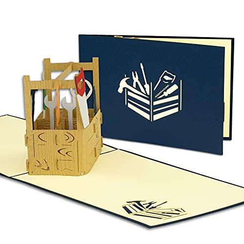 LIN POP UP Karte - 3D Geschenkgutschein - Werkzeug, Baumarkt Handarbeit - Gutschein-Karte - Geburtstags-Karte - Umzug Einzug Renovierung Haus Klapp-Karte