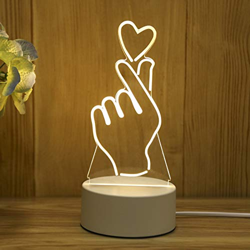 Sinifer Romantic 3D Glow LED Night Lights Optical Illusion Lamp Touch Sensor Perfect for Kids Adults Girls Women Home Party Festival Home Decor Bedroom Table Great Gift Idea (Than Heart)