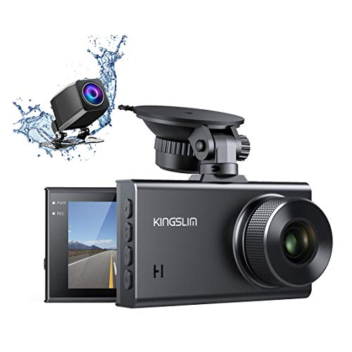 Kingslim D2 2.5K Dual Dash Cam, 1440P&1080P Front and Rear Camera for Cars 170 Degree Driving Recorder with Sony Starvis Sensor Night Vision G-Sensor Parking Mode Support 128GB Max Cameras On-Dash