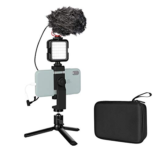 Smartphone Microphone Filmmaker Shotgun Mic Video Recording with Metal Tripod, Built-in Battery LED Light, Phone Holder Storage Case Vlogging Vlog YouTube for iPhone 7 8 X XR 11 Pro Max Samsung Huawei