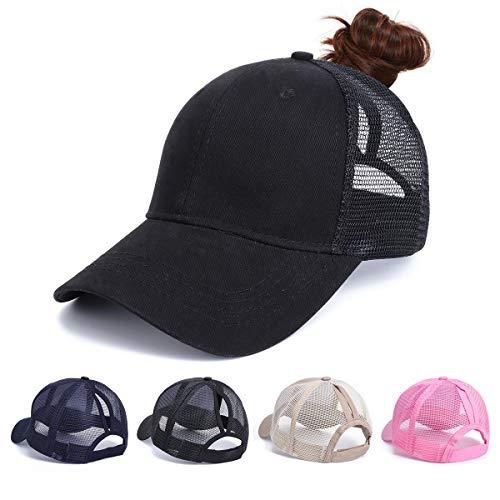 Beisbol Gorra para Mujer - Cola de Caballo Gorras de, Ajustable Algodón Sombrero eportes Clásica de Sol Hat Verano Cap Gorra de béisbol Camionero (NegroA) ✅
