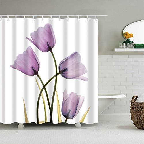 Duschvorhang-Set mit Haken Transparent Lila Tulpen Mauve Blumen Violett Blumen Pflanze Badezimmer Dekor Wasserdicht Polyester Stoff Badezimmer Zubehör Badvorhang 183 x 183 cm