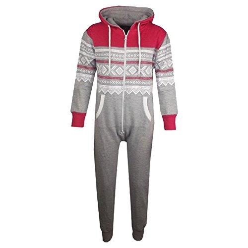 A2Z4Kids®, tuta intera per bambini, con cappuccio, in stile azteco, con fiocchi di neve stampati, tutto in uno (5-13 anni) Pink & Grey 9-10 Anni