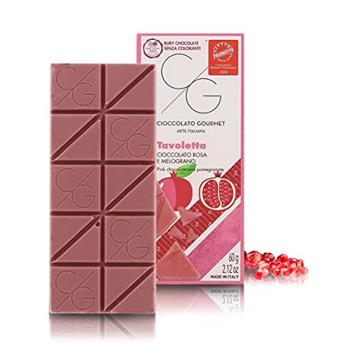 Tableta de Chocolate Gourmet, Chocolate Ruby con Granada, 60g