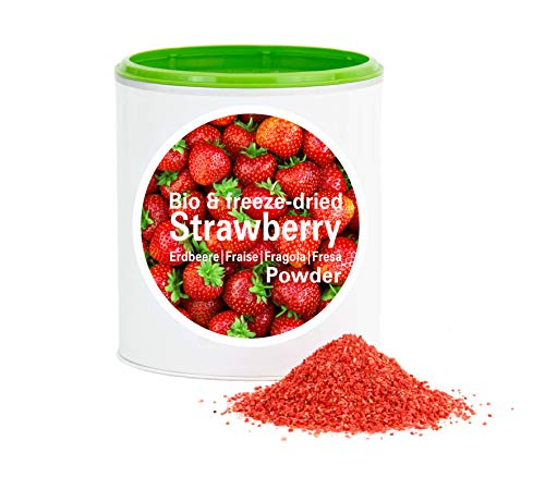 Erdbeerpulver – Bio Erdbeere gefriergetrocknet |bio organic| freeze-dried strawberry| good-superfruit von good-smoothie| 100% frucht |ohne zusatzstoffe + viele Inhaltsstoffe| 120g