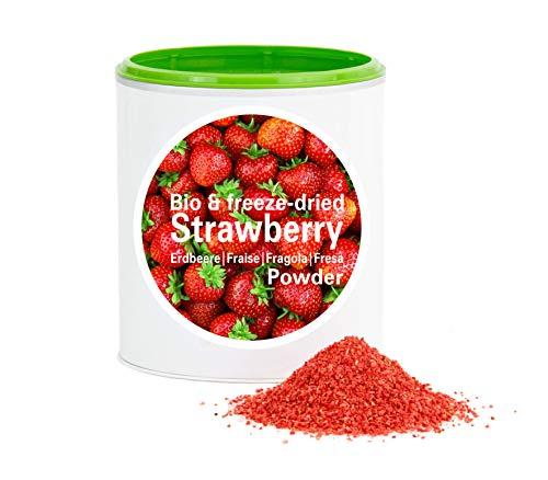 Fraise en poudre - Lyophilisées|biologique|végan|crue|pure fruits|sans additives|riches en vitamins|Good Nutritions 120g