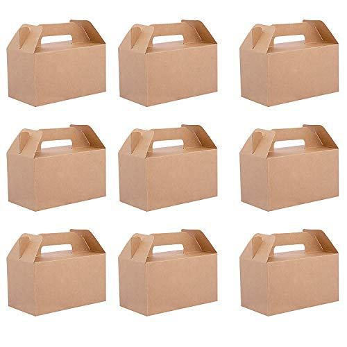Belle Vous Cajas Regalo Papel Kraft (Pack de 24) - 16x9x9cm Caja de Presentacion con Tapa - Comida Paquete Caja para Magdalenas, Chocolates, Cumpleaños, Boda, Favores de Fiesta, Baby Shower