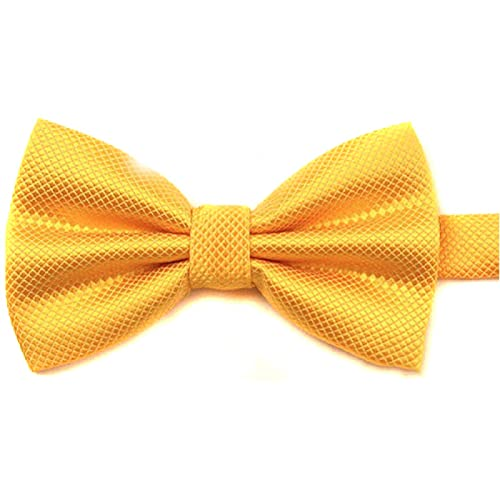 Cravate Pré Liée Nouveau Hommes Pur Papillon Polyester Mariage Multicolore (Doré)