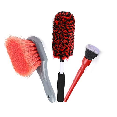 Clean World Industrial Juego de 3 brochas para detalles, cepillo para detalles de coche, cepillo para fregar, lana de neumáticos