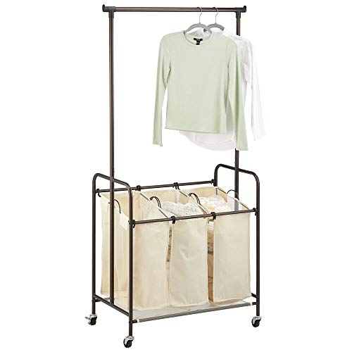 mDesign Portable Laundry Sorter with Wheels and Attached Steel Hanging Bar - 3 Compartment Design,...
