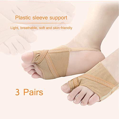 MOXIN Ellbogen-Valgus-Korrekturorthese, Ultradünne Zehenspreizbandage, Hallux-Valgus-Socken Für Hallux-Valgus-Schmerzlinderung (3 Paare),L