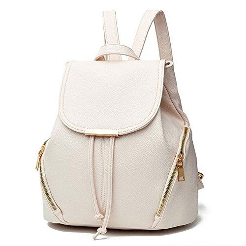 Aiseyi Women Backpack Purse PU Leather Fashion Drawstring Casual Backpacks Travel Rucksack (Beige)