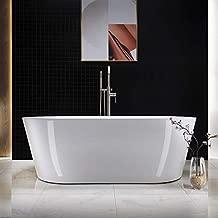 WOODBRIDGE white Acrylic Freestanding Bathtub Contemporary Soaking Tub Overflow and Drain, 67