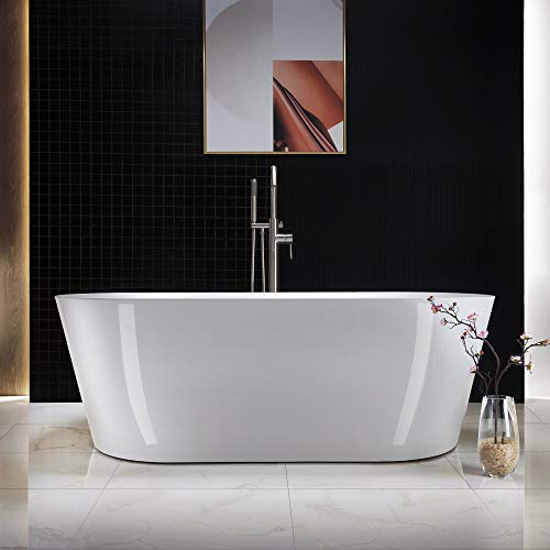 WOODBRIDGE white Acrylic Freestanding Bathtub Contemporary Soaking Tub Overflow and Drain, 67