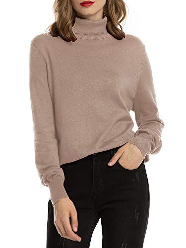 Woolen Bloom Jersey Cuello Alto Camiseta Manga Larga Sueter Invierno Jersey Basico Suelto Jerseys Camisa Tops Pull-Over Suéter Mujer Primavera Otoño