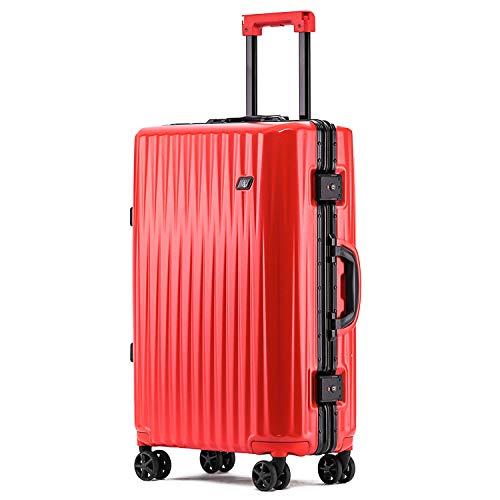 ボンイージ(bonyage) スーツケース アルミフレーム 耐衝撃 キャリーケース 機内持込 キャリーケース 軽量 キャリーバッグ 人気 大型 TSAロック付き 静音 旅行出張 サメの歯形 1年保証 レッド Red XLサイズ 約74L