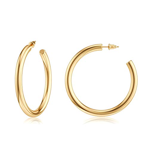 JIAYIQI Chunky Gold Hoop Earrings for Women 14K Gold Plated Stainless Steel Hoop Open Tube Big Hoops Earrings Hypoallergenic Diameter 50mm -Golden