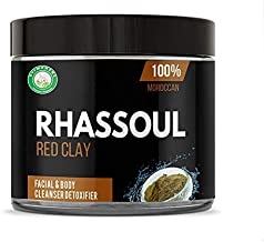 Organic and 100% Pure Natural Red Moroccan Ghassoul Rhassoul Clay for Face – Hair – Dry and Oily Skin Facial -Deep Pore Cleansing - Neck - Body - Mask - Anti-aging Clay DIY (powder form) 16oz 1 LB