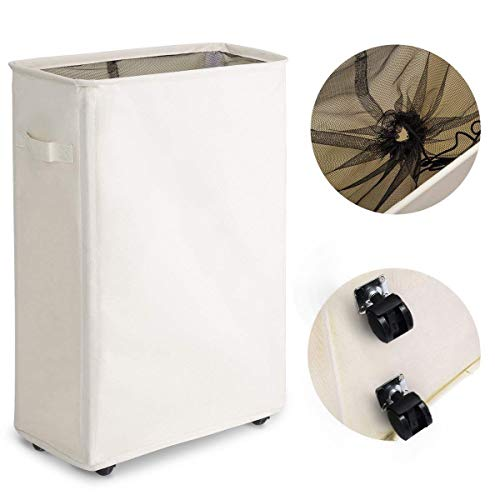 Chrislley Slim Rolling Laundry Hamper with Wheels Thin Laundry Hamper Narrow Clothes Hampers Tall Dirty Laundry Hamper Basket Slim 22 Inches Beige