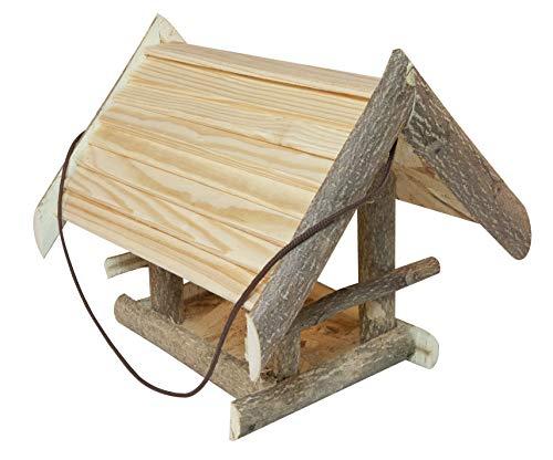 Windhager Vogelfutterhaus Dachstein, Vogelfuttersilo, Vogelhaus, Futterspender für Vögel, inklusive Aufhängeschnur, Vogelhäuschen aus Massivholz, 06865, natur unbehandelt