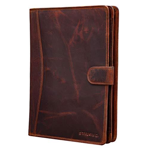 STILORD 'Cohen' Documentkoffer A4 Leder Vintage Schrijfmap 12.2 Inch Tabet Zakje Ritsbaar Ariefcase voor Zakelijke Vergaderingen Werk Echt Leder, Kleur:kara - cognac