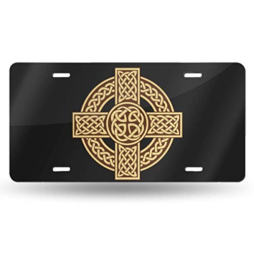 Celtic Cross Irish Scottishrame License Plate Vanity Tag Aluminum Car License Plate 6 X 12 Inch for Most Truck Car Bedroom Decor