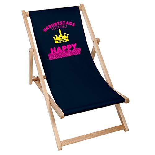 SHIRT-TO-GO Bedruckte Sonnenliege Liegestuhl Stuhl Geburtstagskind - Aufdruck Geburtstagsqueen Krone mit individuellem Namen
