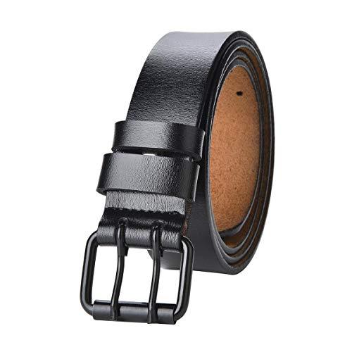 TEAMMAO Cinturón para Hombre Doble Aguja Cuero Cinturón Tamaño Regular y Grande 110CM-180CM Retro Moda 3,8CM Amplia Pantalones Casuales Jeans Cinturón de Cuero Belt. (160CM, Negro)
