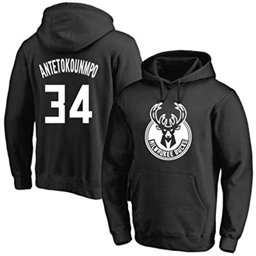 NBA Men's Milwaukee Bucks Hoodie 34 Basketball Hoodie Black-1 S
