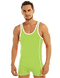 mens one-piece bodysuit boxer style green