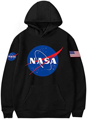 OLIPHEE Felpe con Cappuccio con Fascia da Braccio di NASA per Fans del Aerospaziale per Ragazzi e Uomo Hei 4XL