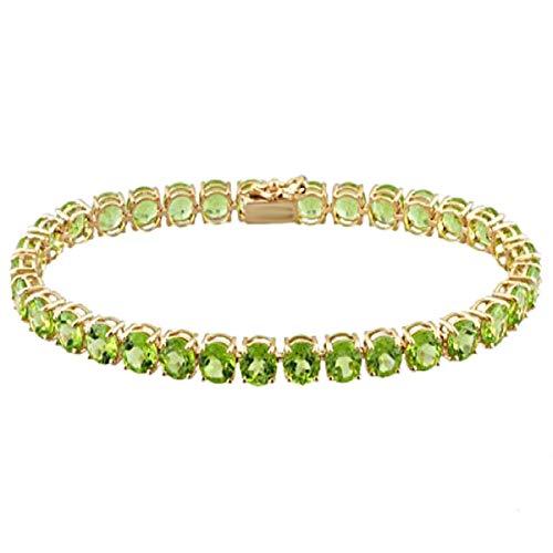 Shine Jewel Pulsera de Tenis de Plata esterlina 925 chapada en Amarillo de 4.5 CTS con Piedras Preciosas de peridoto Regalo para Ella