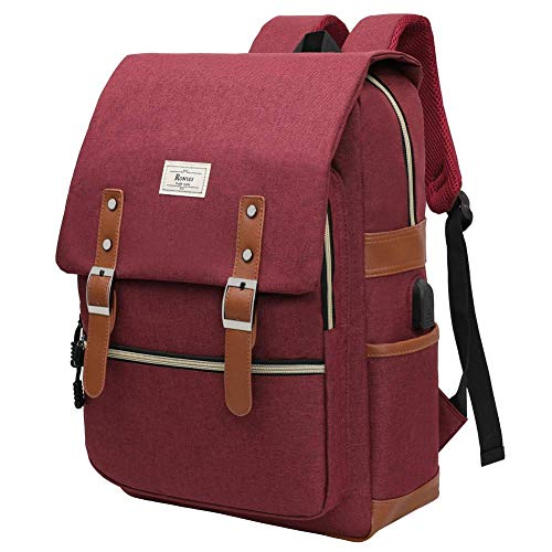 College Bag Fits up to 15.6'' Laptop Casual Rucksack Waterproof Business Travel School Backpack Daypacks with USB Unisex(Jujube Red)
