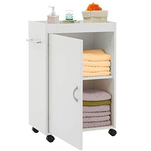 Bakaji keukentrolley van MDF-hout met deuren 3 planken en 4 draaibare wielen. Afmetingen: 50 x 32 x 77,5 cm. Kast ruimtebesparend op te bergen, kleur wit.