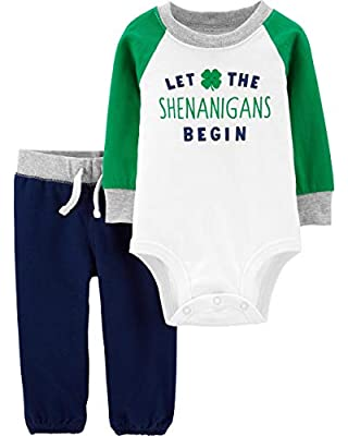 Carter's Baby Boys' Luckiest Baby Bodysuit and Pants Set (24 Months, Blue/Green/White)