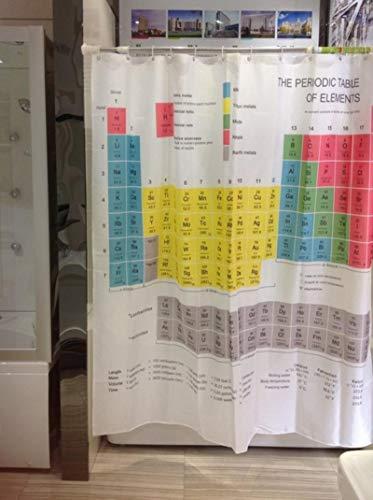 Cortina de Ducha con Peso de baño de Tela Larga de poliéster de Rayas de Tabla periódica química Big Bang Theory Sheldon Misma Cortina