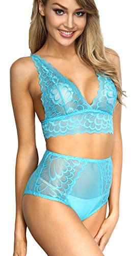 The victory of cupid Women 2 Piece Floral Lingerie Sets Lace Babydoll Bralette Bra and Panty Set (Blue, M)