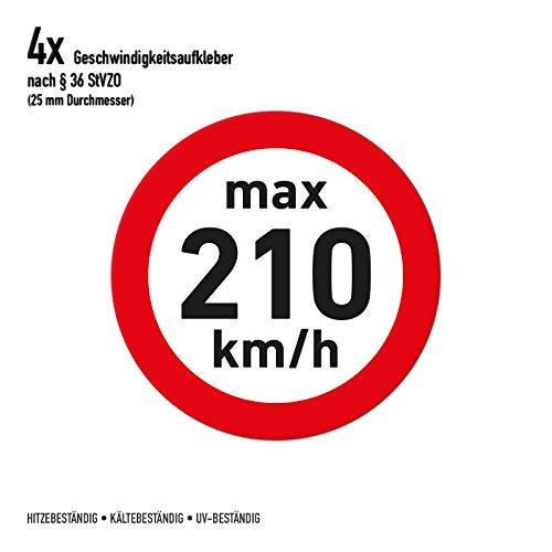 Geschwindigkeitsaufkleber Winterreifen 210 km/h Aufkleber Sticker (4 Stück, transparent)