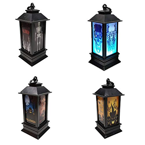 FBGood Halloween - Luz Nocturna LED para Halloween, decoración Exterior de jardín, farolillos de Halloween, 4PC